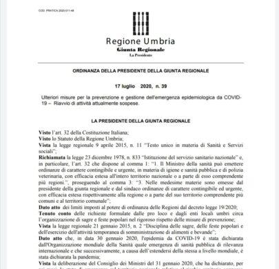 Regione Umbria: via libera a sagre, fiere locali, mostre mercato e feste popolari, nel rispetto delle prescrizioni sanitarie.